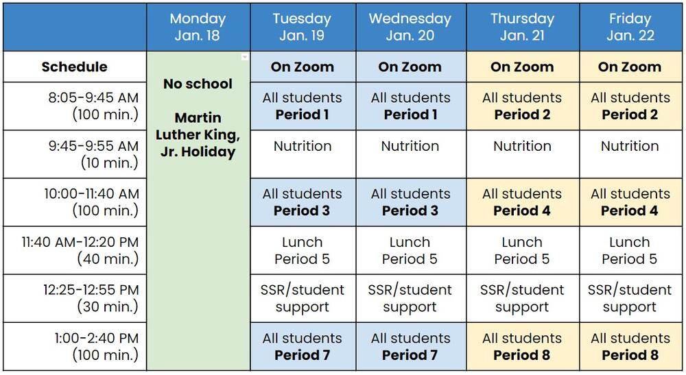 January 18-22 temporary distance learning schedule