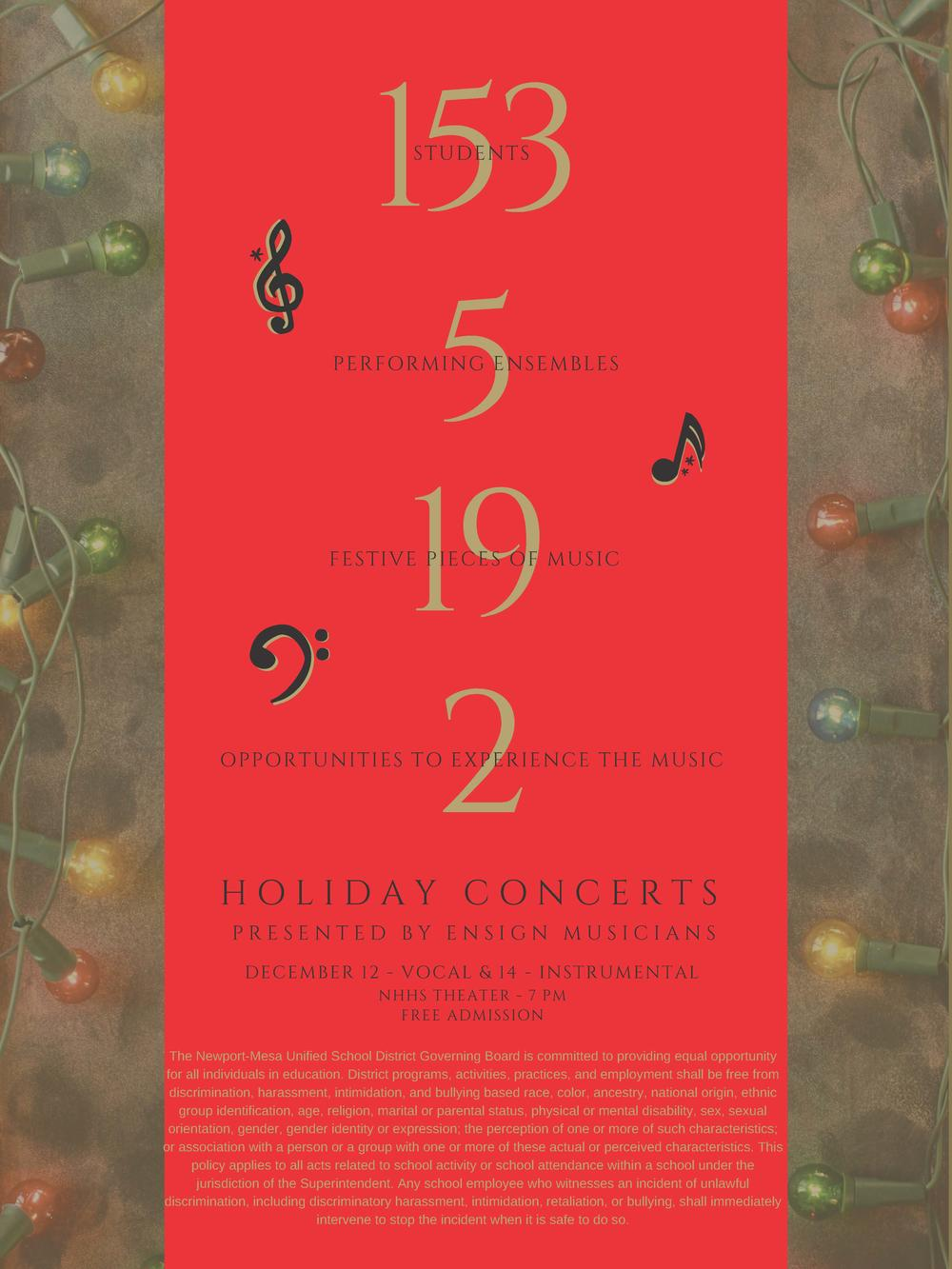 Ensign holiday music concert flyer